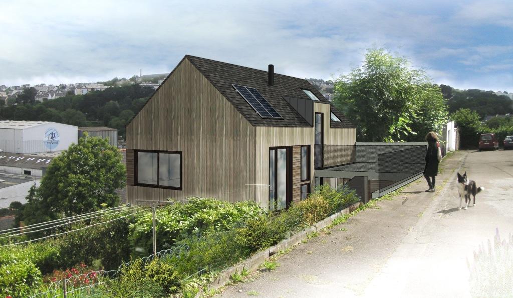 Maison-patio- architecture bois à Duarnenez